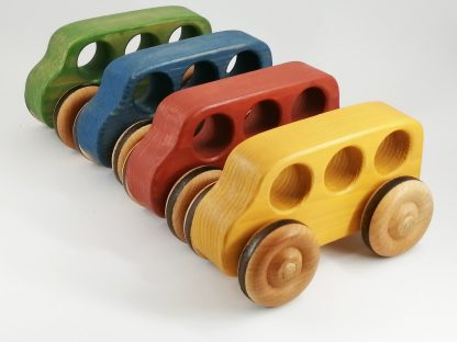 Traditional toy wooden buses