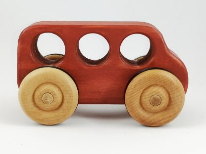 Red toy bus wooden handmade