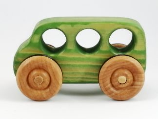 green toy wooden bus birthday gift