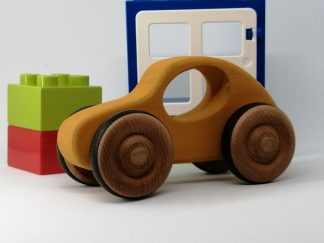 yellow wooden car toy for baby