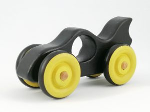 wooden toy batmobile with yellow wheels