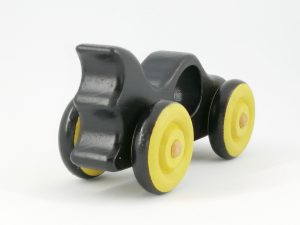 rear view of wooden batmobile toy