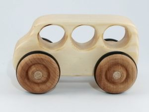 real wood bus toy