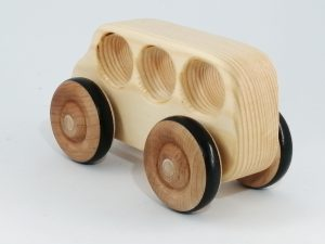 rear view real wood bus toy