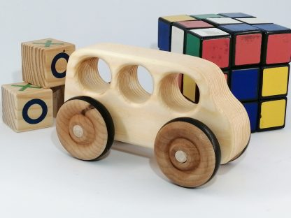 real wood toy bus with other toys