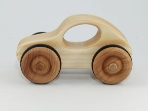 side view natural wood toy car