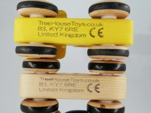 CE safety mark on wooden toy cars
