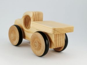 rear view real wood toy truck