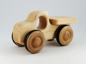 side view real wood toy truck