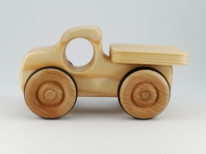 natural wood pickup truck toy