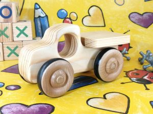 eco friendly real wood toy pickup truck
