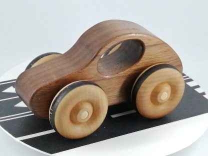 natural wood toy car in black walnut