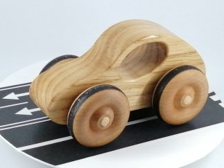 solid wood toy car in oak