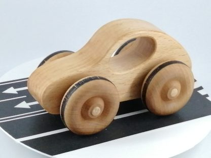 Solid wood toy car in beech
