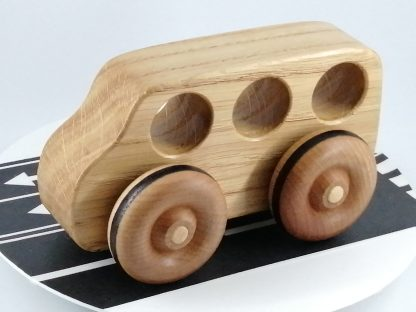 large wooden toy bus made from oak