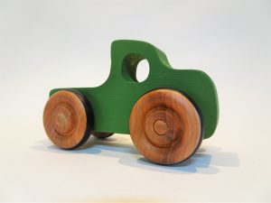 green pickup truck wooden toy - front left