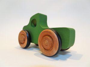 wooden green pickup truck
