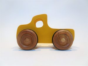 wooden toy pickup truck - side