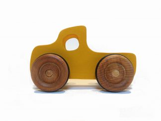 yellow wooden toy pickup truck