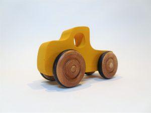 hand made wooden pickup truck yellow