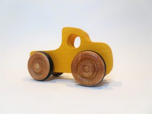 wooden toy truck - yellow - front right