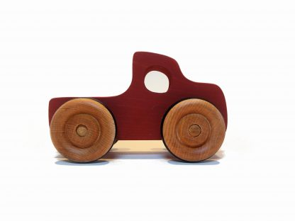 red wooden toy pickup truck