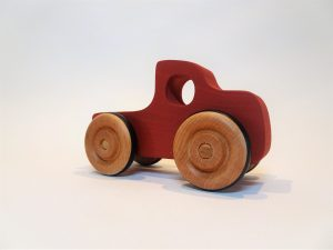 red pickup truck wooden toy - front right