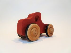 wooden toy truck in red - front left