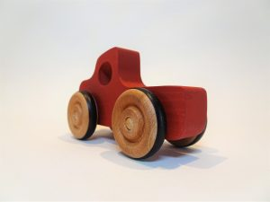 hand made wooden toy truck - red