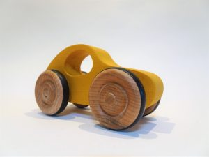 wooden toy VW car yellow - front right