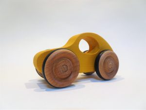 toy wooden yellow car - front left