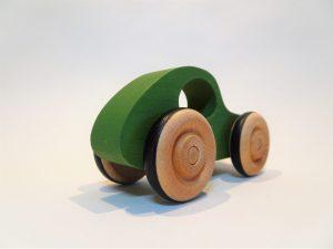 green toy car - rear