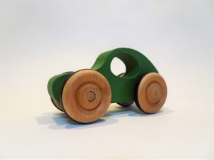 toy wooden green car - front left