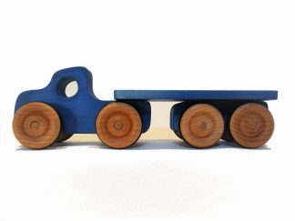 blue wooden toy lorry