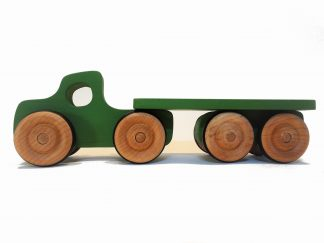 green wooden toy lorry